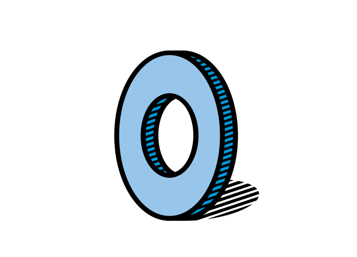 The Grommet logo, a blue grommet, with accent dots to show that it is a device with special significance