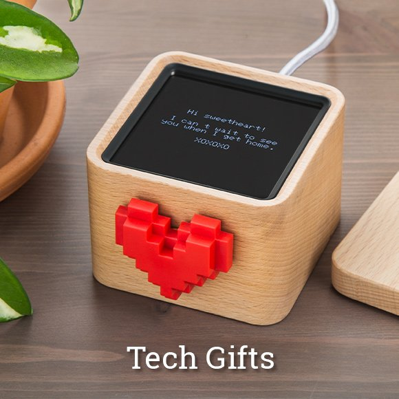 Shop cool tech gifts like Lovebox's smart-connected spinning heart messenger.