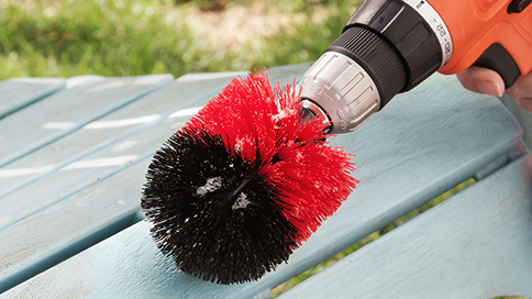 Drill Brush Cleaning Picnic Bench