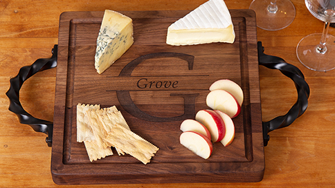 Personalized Wooden Serving Tray with Handles