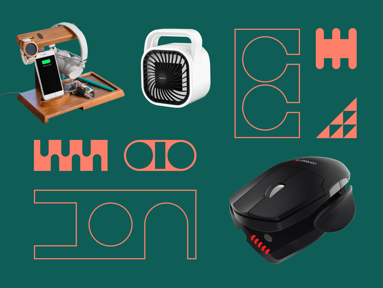 Organic shapes with three products: Thomaswork Charging Station, Evapolar Air Conditioner, and Contour Design Mouse