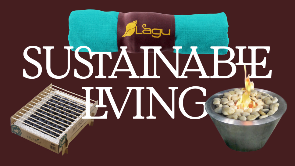 """Text """"Sustainable Living"""" surrounded by three products on dark brown background"""