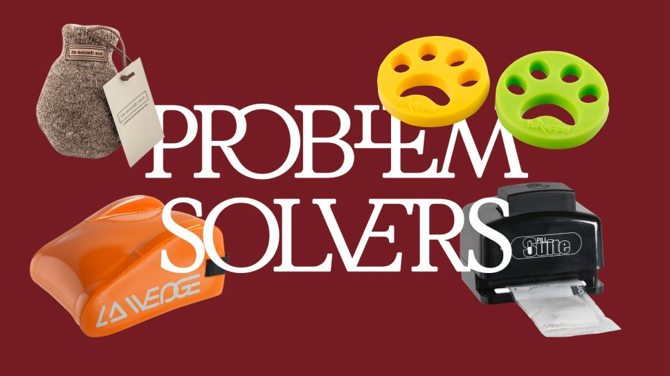 Dark red background with four problem solving products surrounding the text