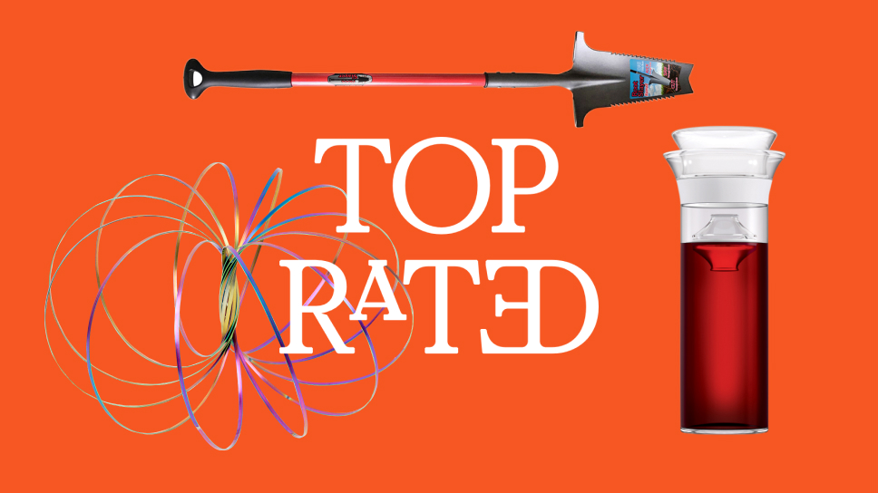 Orange background with three top rated products surrounding the text.