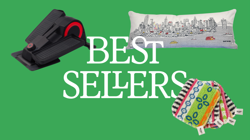 """Green block with three best-selling products surrounding the text """"Best Sellers"""""""
