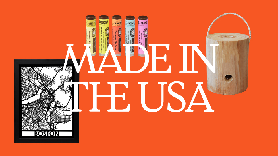 """Orange-red block with three products made in the USA surrounding the text """"Made in the USA"""""""