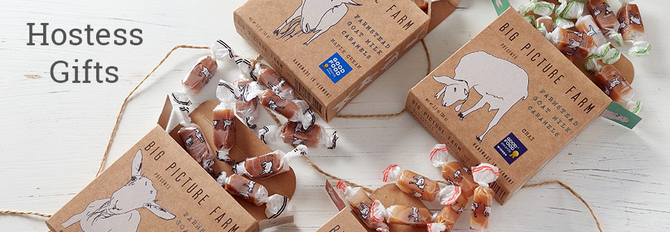 Browse thoughtful hostess gifts like Big Picture Farms goat milk caramels