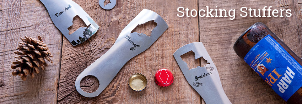 Find cool stocking stuffers like Zootility's state pride bottle opener gift sets & more.