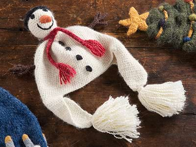A knitted hat shapped like a snowman
