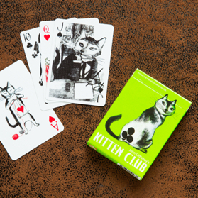 These playing cards have original illustrations depicting sweet-faced cats