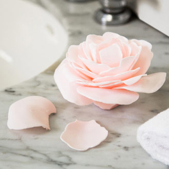 Pink flower made of soap petals.