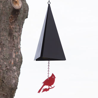 Black triangle wind chime with a red bird decoration.