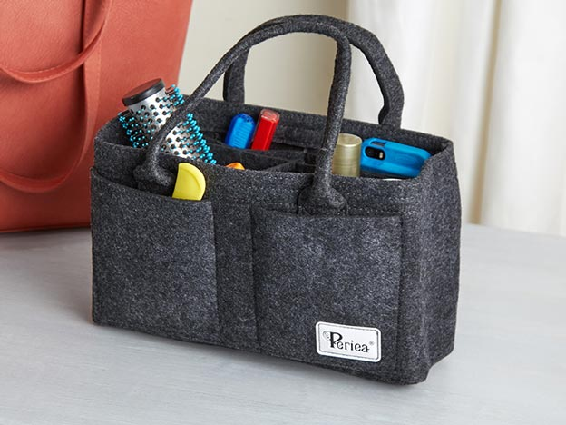 Grey felt purse organizer with handles.