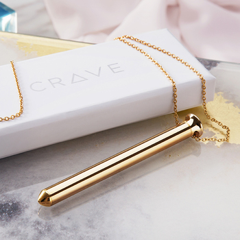 This slim and sleek stainless steel necklace is a modern-looking piece of jewelry that doubles as a vibrator.