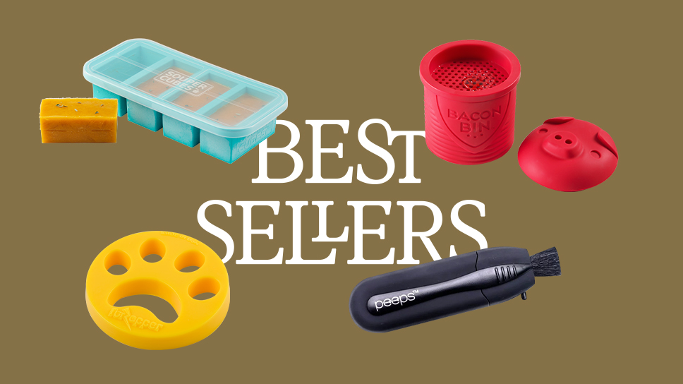 """Text """"Best Sellers"""" with four products floating around it. Clockwise: a giant freezer tray, a bacon grease keeper, an eyeglasses cleaner, a laundry fur remover."""